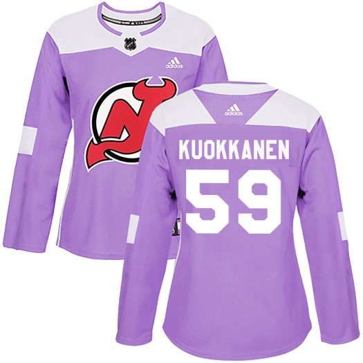 Janne Kuokkanen New Jersey Devils Women's Adidas Authentic Purple ized Fights Cancer Practice Jersey
