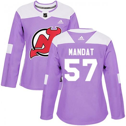 Jan Mandat New Jersey Devils Women's Adidas Authentic Purple Fights Cancer Practice Jersey