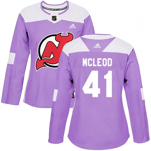 Michael McLeod New Jersey Devils Women's Adidas Authentic Purple Fights Cancer Practice Jersey