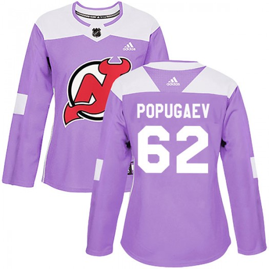 Nikita Popugaev New Jersey Devils Women's Adidas Authentic Purple Fights Cancer Practice Jersey
