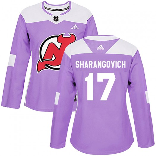 Yegor Sharangovich New Jersey Devils Women's Adidas Authentic Purple Fights Cancer Practice Jersey