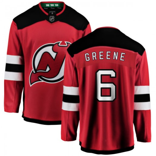 Andy Greene New Jersey Devils Youth Fanatics Branded Green New Jersey Red Home Breakaway Jersey