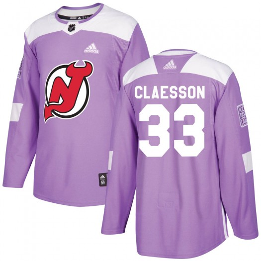 Fredrik Claesson New Jersey Devils Youth Adidas Authentic Purple ized Fights Cancer Practice Jersey