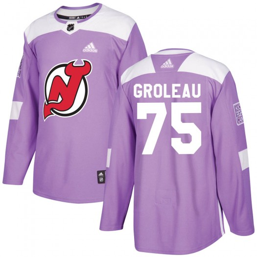 Jeremy Groleau New Jersey Devils Youth Adidas Authentic Purple Fights Cancer Practice Jersey