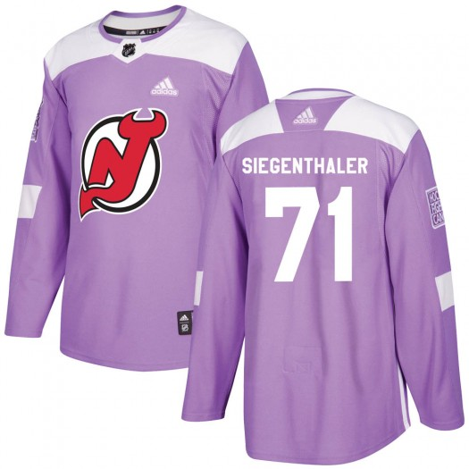 Jonas Siegenthaler New Jersey Devils Youth Adidas Authentic Purple Fights Cancer Practice Jersey