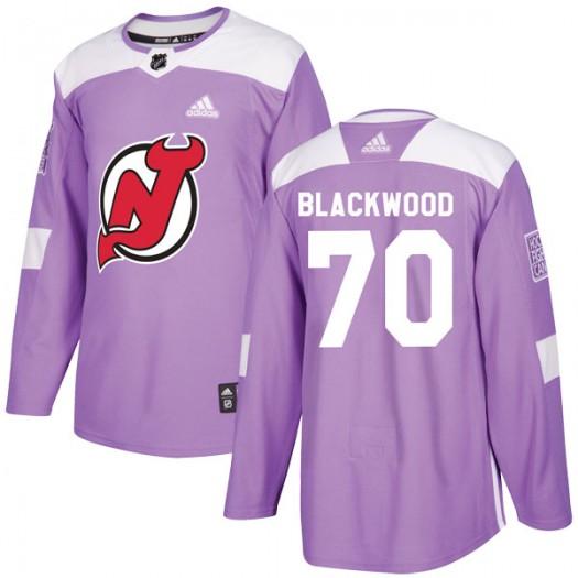 MacKenzie Blackwood New Jersey Devils Men's Adidas Authentic Purple Fights Cancer Practice Jersey