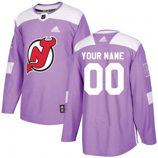Men's Adidas New Jersey Devils Customized Authentic Purple Fights Cancer Practice Jersey