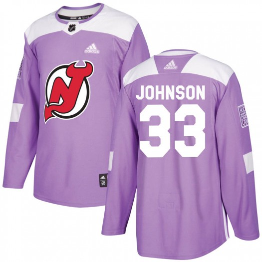 Cam Johnson New Jersey Devils Men's Adidas Authentic Purple Fights Cancer Practice Jersey