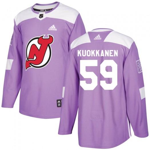Janne Kuokkanen New Jersey Devils Men's Adidas Authentic Purple ized Fights Cancer Practice Jersey