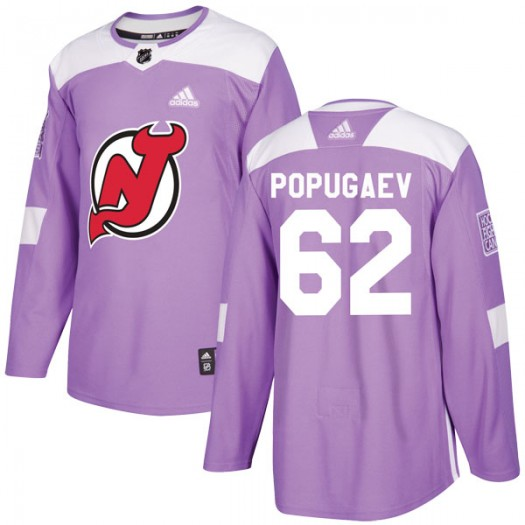 Nikita Popugaev New Jersey Devils Men's Adidas Authentic Purple Fights Cancer Practice Jersey