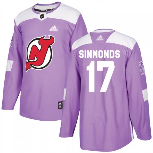 Wayne Simmonds New Jersey Devils Men's Adidas Authentic Purple Fights Cancer Practice Jersey