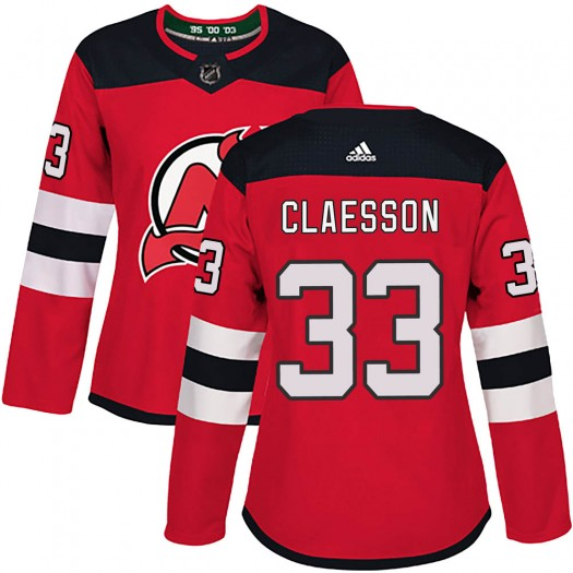 Fredrik Claesson New Jersey Devils Women's Adidas Authentic Red ized Home Jersey