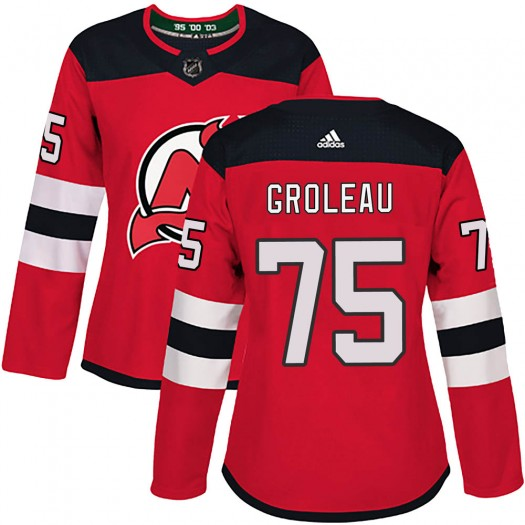 Jeremy Groleau New Jersey Devils Women's Adidas Authentic Red Home Jersey