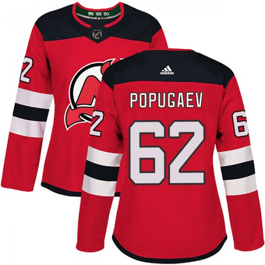 Nikita Popugaev New Jersey Devils Women's Adidas Authentic Red Home Jersey