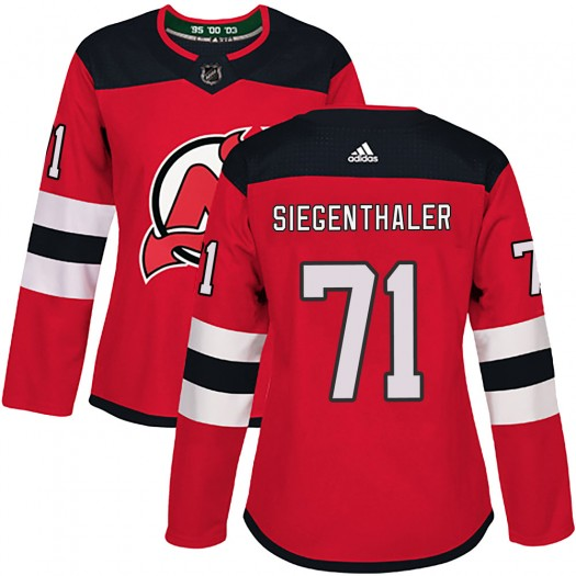 Jonas Siegenthaler New Jersey Devils Women's Adidas Authentic Red Home Jersey