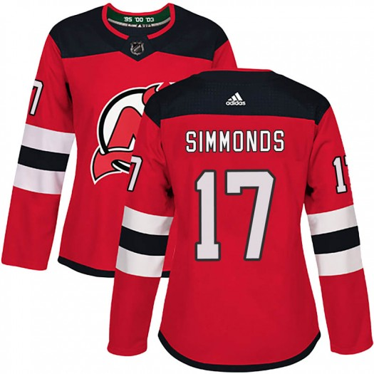 Wayne Simmonds New Jersey Devils Women's Adidas Authentic Red Home Jersey