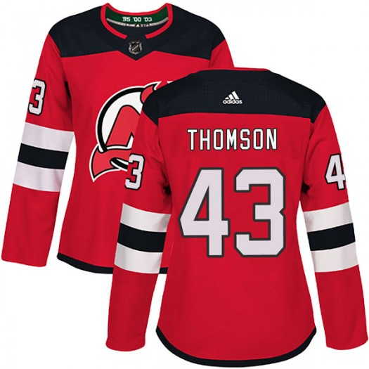 Ben Thomson New Jersey Devils Women's Adidas Authentic Red Home Jersey