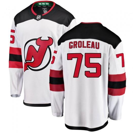 Jeremy Groleau New Jersey Devils Men's Fanatics Branded White Breakaway Away Jersey