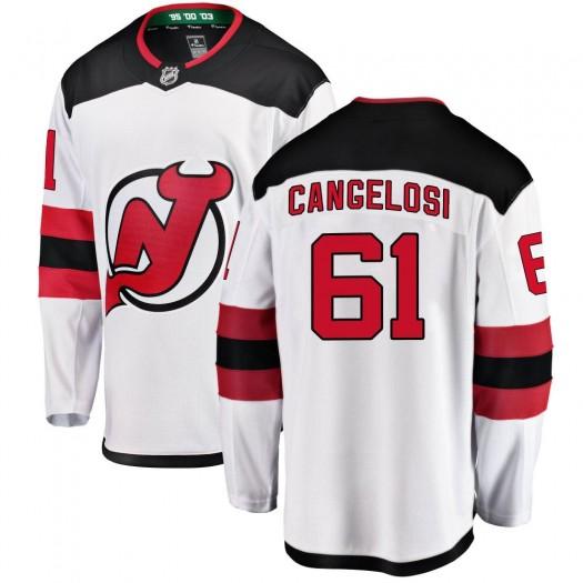 Austin Cangelosi New Jersey Devils Youth Fanatics Branded White Breakaway Away Jersey