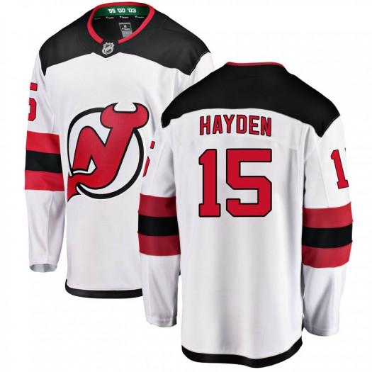 John Hayden New Jersey Devils Youth Fanatics Branded White Breakaway Away Jersey
