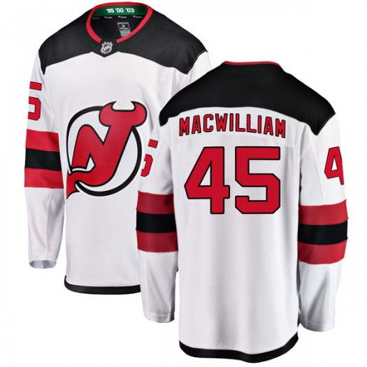 Andrew MacWilliam New Jersey Devils Youth Fanatics Branded White Breakaway Away Jersey