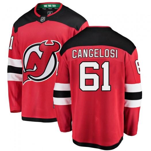 Austin Cangelosi New Jersey Devils Youth Fanatics Branded Red Breakaway Home Jersey