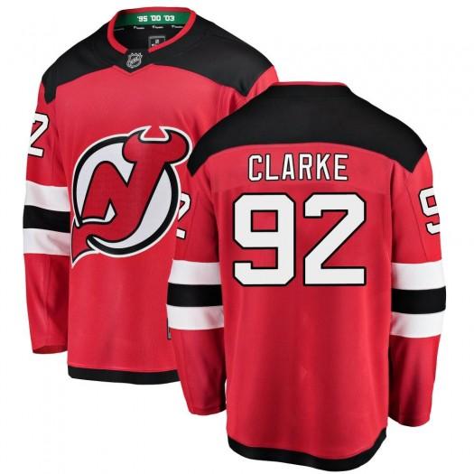 Graeme Clarke New Jersey Devils Youth Fanatics Branded Red Breakaway Home Jersey