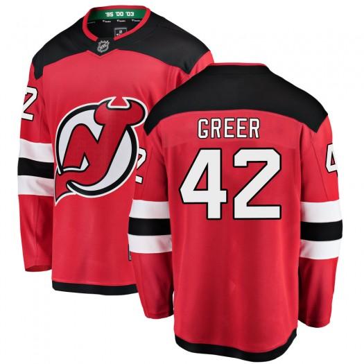 A.J. Greer New Jersey Devils Youth Fanatics Branded Red Breakaway Home Jersey