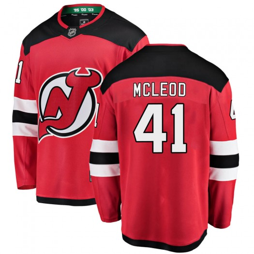 Michael McLeod New Jersey Devils Youth Fanatics Branded Red ized Breakaway Home Jersey