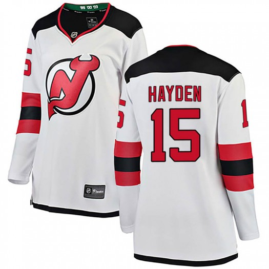 John Hayden New Jersey Devils Women's Fanatics Branded White Breakaway Away Jersey