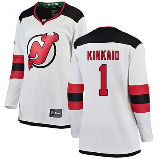 Keith Kinkaid New Jersey Devils Women's Fanatics Branded White Breakaway Away Jersey