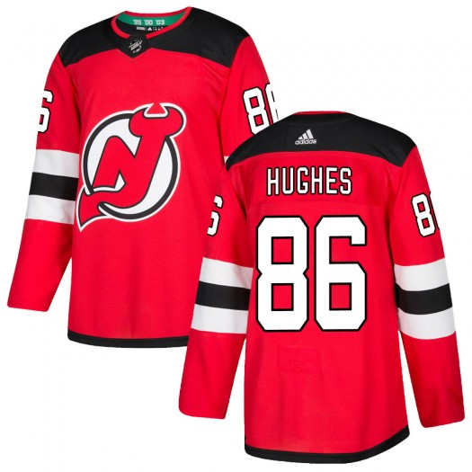 Jack Hughes New Jersey Devils Youth Adidas Authentic Red Home Jersey