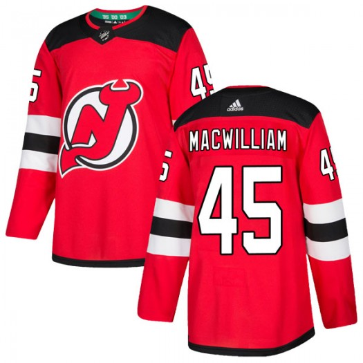 Andrew MacWilliam New Jersey Devils Youth Adidas Authentic Red Home Jersey