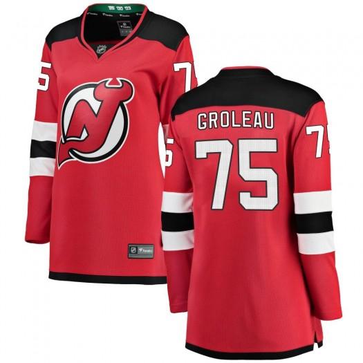 Jeremy Groleau New Jersey Devils Women's Fanatics Branded Red Breakaway Home Jersey