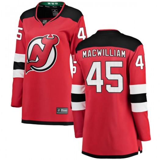 Andrew MacWilliam New Jersey Devils Women's Fanatics Branded Red Breakaway Home Jersey