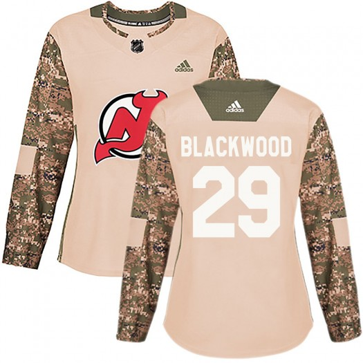 MacKenzie Blackwood New Jersey Devils Women's Adidas Authentic Black Mackenzie wood Camo Veterans Day Practice Jersey