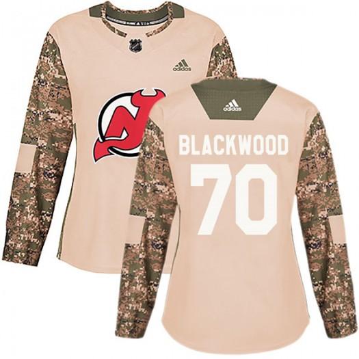 MacKenzie Blackwood New Jersey Devils Women's Adidas Authentic Black Camo Veterans Day Practice Jersey