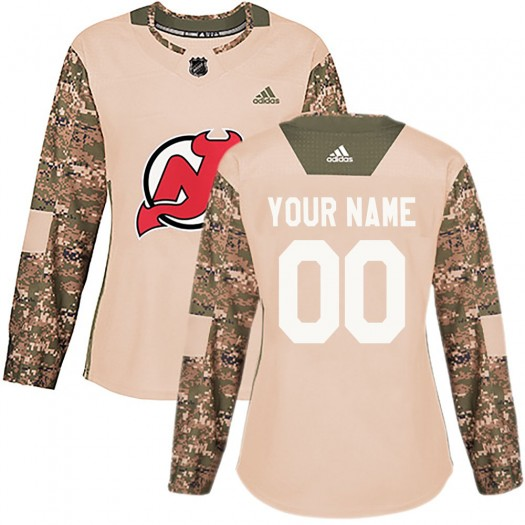 Women's Adidas New Jersey Devils Customized Authentic Camo Veterans Day Practice Jersey