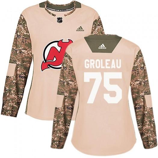 Jeremy Groleau New Jersey Devils Women's Adidas Authentic Camo Veterans Day Practice Jersey