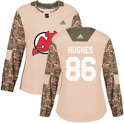 Jack Hughes New Jersey Devils Women's Adidas Authentic Camo Veterans Day Practice Jersey