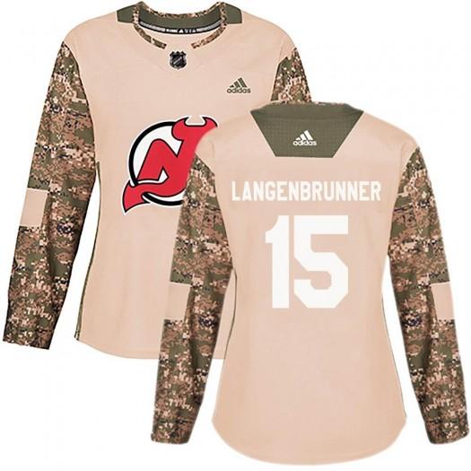 Jamie Langenbrunner New Jersey Devils Women's Adidas Authentic Camo Veterans Day Practice Jersey