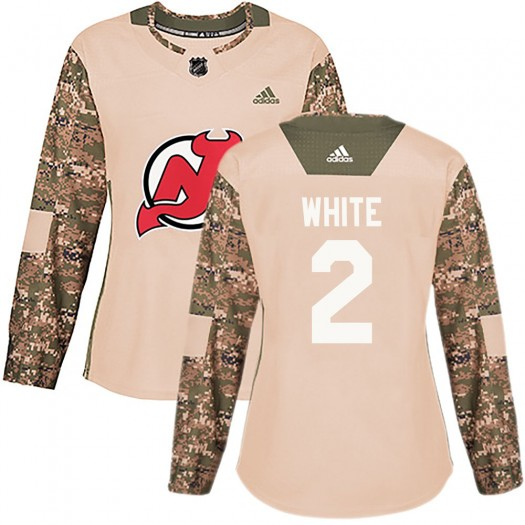 Colton White New Jersey Devils Women's Adidas Authentic White Camo Veterans Day Practice Jersey