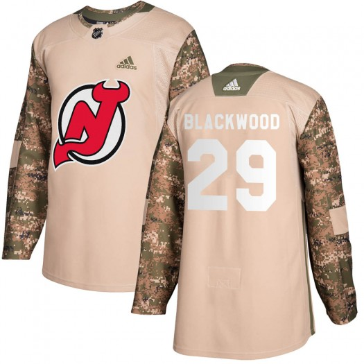 MacKenzie Blackwood New Jersey Devils Youth Adidas Authentic Black Mackenzie wood Camo Veterans Day Practice Jersey