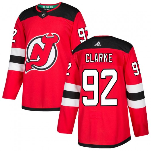 Graeme Clarke New Jersey Devils Men's Adidas Authentic Red Home Jersey