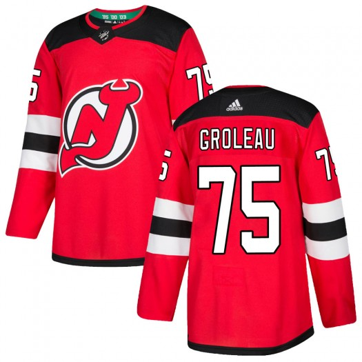 Jeremy Groleau New Jersey Devils Men's Adidas Authentic Red Home Jersey