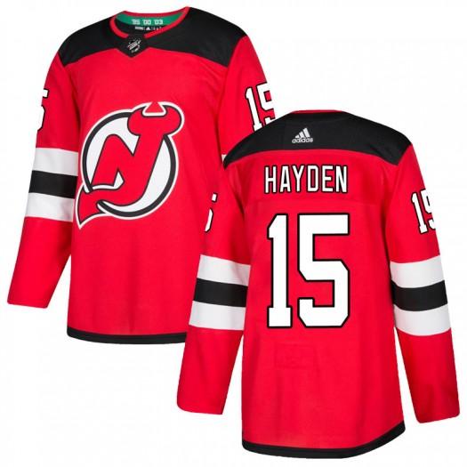 John Hayden New Jersey Devils Men's Adidas Authentic Red Home Jersey