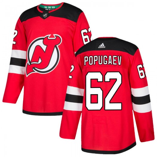 Nikita Popugaev New Jersey Devils Men's Adidas Authentic Red Home Jersey