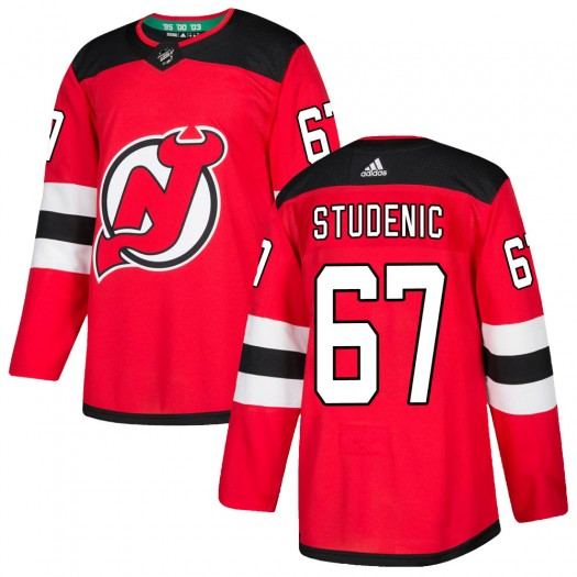 Marian Studenic New Jersey Devils Men's Adidas Authentic Red Home Jersey