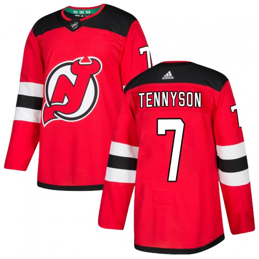 Matt Tennyson New Jersey Devils Men's Adidas Authentic Red ized Home Jersey