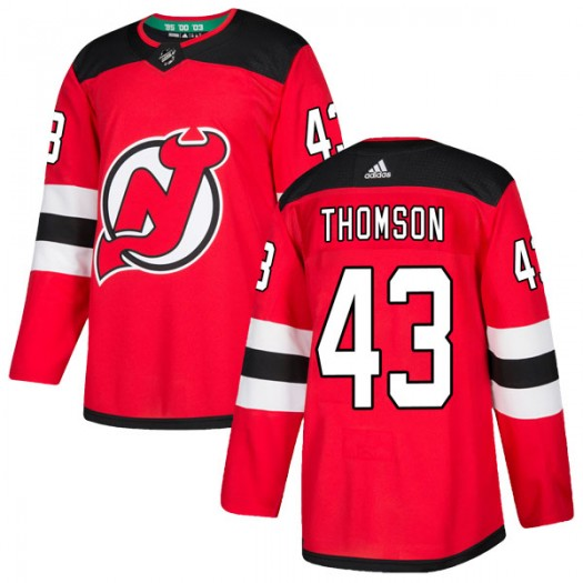 Ben Thomson New Jersey Devils Men's Adidas Authentic Red Home Jersey